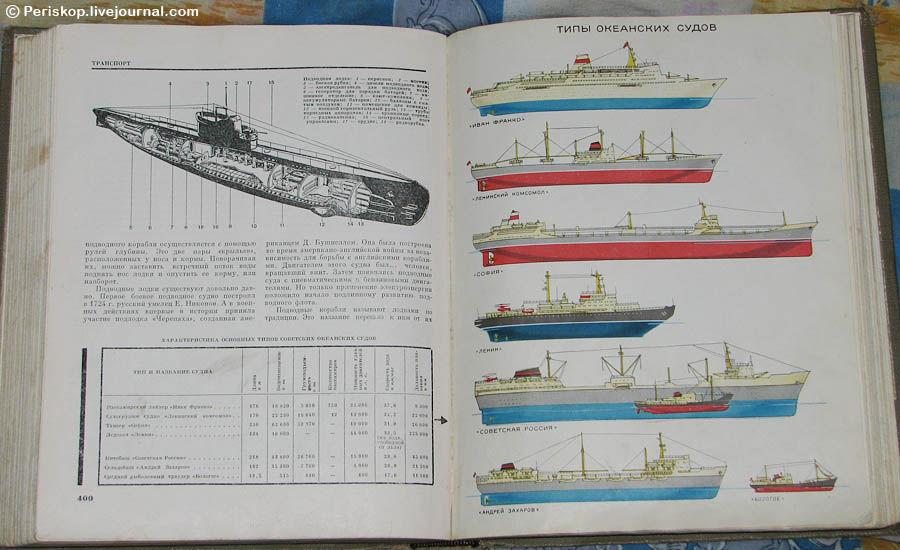 Разворот 5 тома «Детской энциклопедии» (1965 г. издания) с типами океанских судов